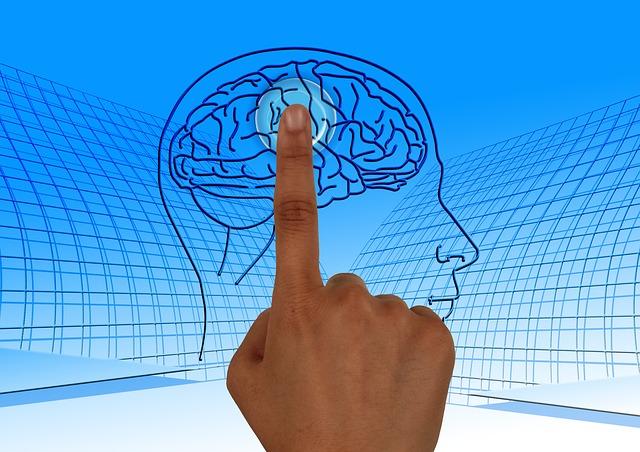 Človek ukazuje na ľudskú hlavu s mozgom
